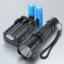 5000LM 5Modes C8 T6 LED Flashlight Torch Lamp Light + 2x 18650 Battery + Charger