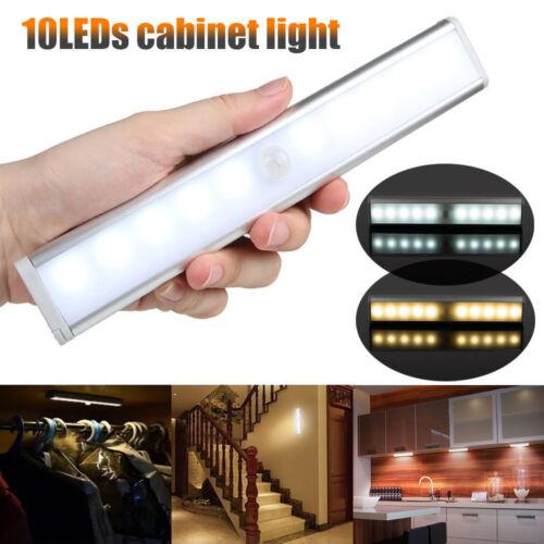 10 DEL PIR Capteur de mouvement sans fil portable placard armoire lumière Nuit