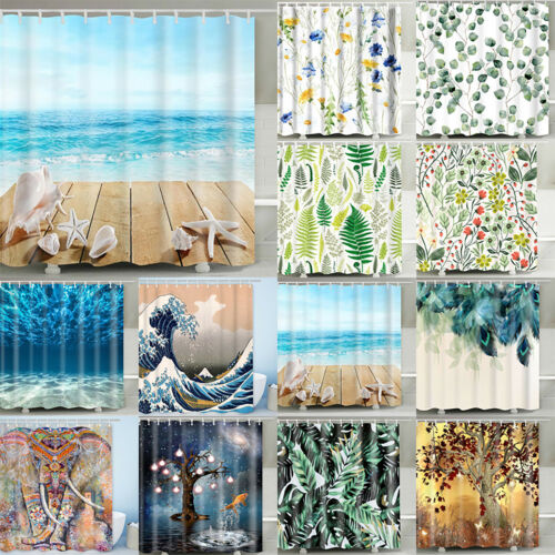 Fancy Waterproof Fabric Bathroom Shower Curtain Polyester Print Curtain Hooks