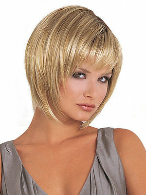 New blonde Straight Wigs Short Hair Wigs Women's Fashion Wig +wigs cap