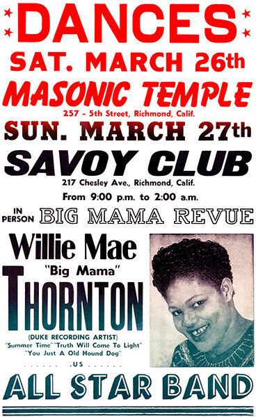 Big Mama Thornton - Savoy Club - Richmond CA - 1966 - Concert Poster