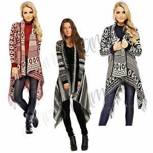 New Womens Wrap Aztec Tribal Waterfall Cardigan Printed Bobo Long ...