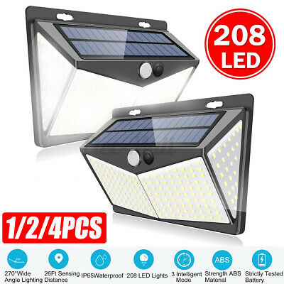 Solar Powered 208 LED PIR Motion Sensor Wall Security Light Garden Outdoor Lamp