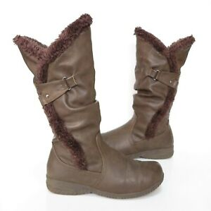 Ladies PAVERS Brown faux leather calf