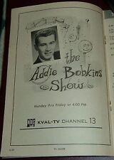1959 TV AD~BOB ADKINS hosts THE ADDIE BOBKINS SHOW on KVAL in EUGENE,OREGON 5X7