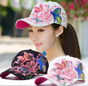 Gorra-de-beisbol-para-mujer-con-bordado-de-mariposas-y-flores-ajustable-Chicas