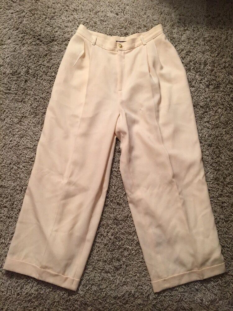 Women's Ralph Lauren Collection Purple Label 100% Wool Cream Yellow Pants, Sz 12