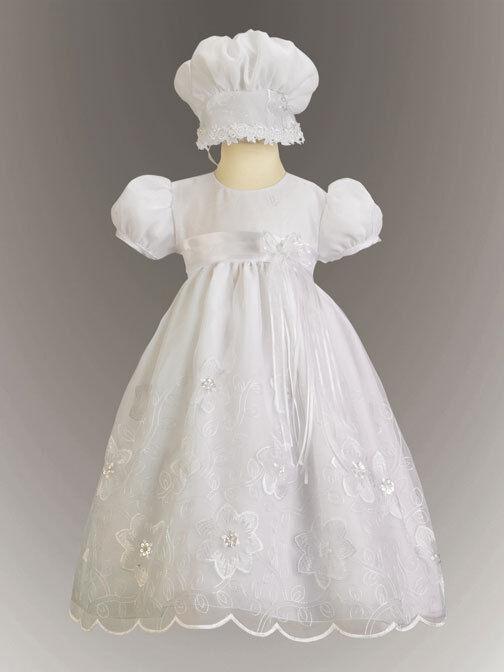Precious Baby Girls White Embroidered Christening Boutique Dress/Bonnet Lito USA