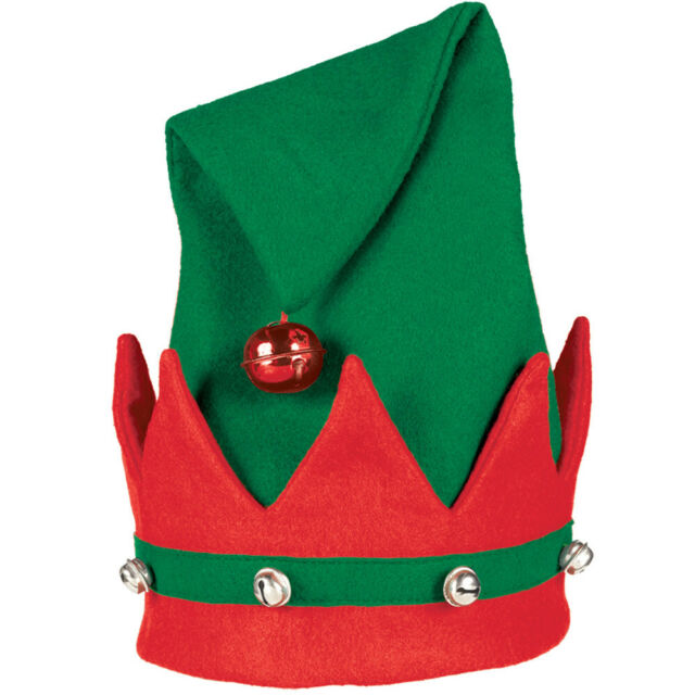One Size Red /& Green Sequin Elf Hat with Large Bell Top