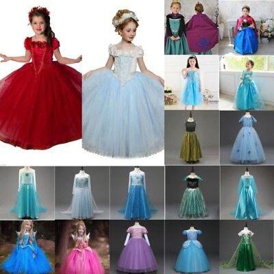 DE Mädchen Frozen Elsa Anna Kleid Prinzessin Cosplay Kostüm Fancy Karneval Party