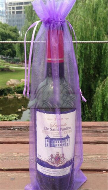 10PCS Sheer Organza Wine Bottle Gift Bags Weddings Holidays Party 15x 38cm TP