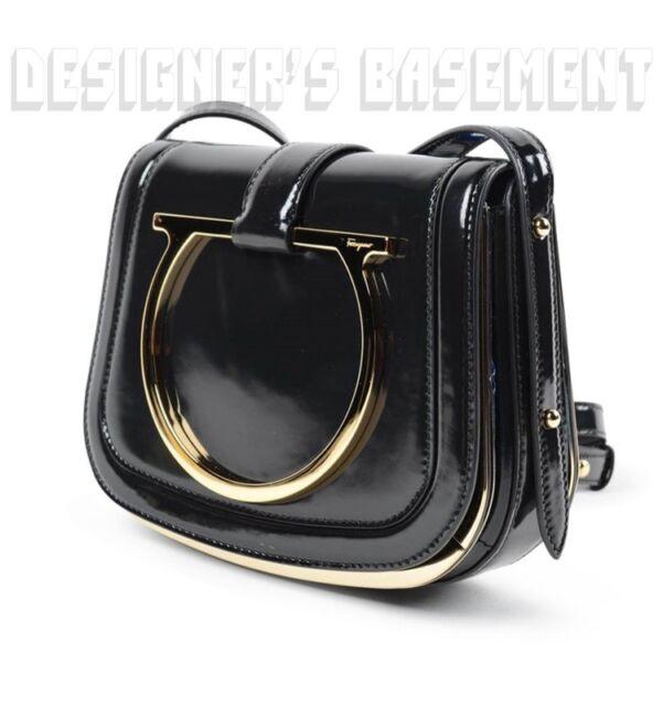 3f18ee1dc40e SALVATORE FERRAGAMO black leather Gold GANCINI logo SABINE bag NIB Authent   1750