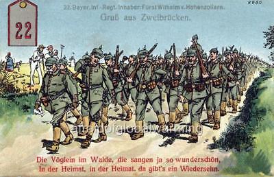 Print 1914 WW1 Zweibrücken Germany Infantry Regiment