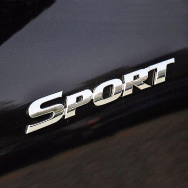 3D Silver SPORT Logo Car Sticker Sport Emblem Side Fender Rear Trunk Badge ABS