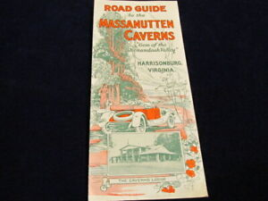 Vintage-1928-Massanutten-Caverns-Carretera-Guia-Viaje-Folleto-Harrisburg-VI-Q763