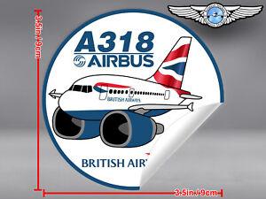 BRITISH-AIRWAYS-BA-PUDGY-AIRBUS-A318-A-318-ROUND-DECAL-STICKER-3-5x3-5in-9x9cm