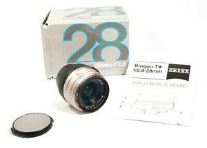 Carl-Zeiss-Biogon-T-28-mm-Objectif-f2-8-Contax-G-Mount-boite-d-039-origine-a-peine-utilisee