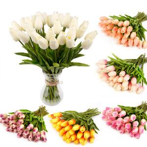 10pcs Fleur Artificielle Bouquet Tulipe Rose Real Touch Mariage Décoration Maison-afficher Le Titre D'origine
