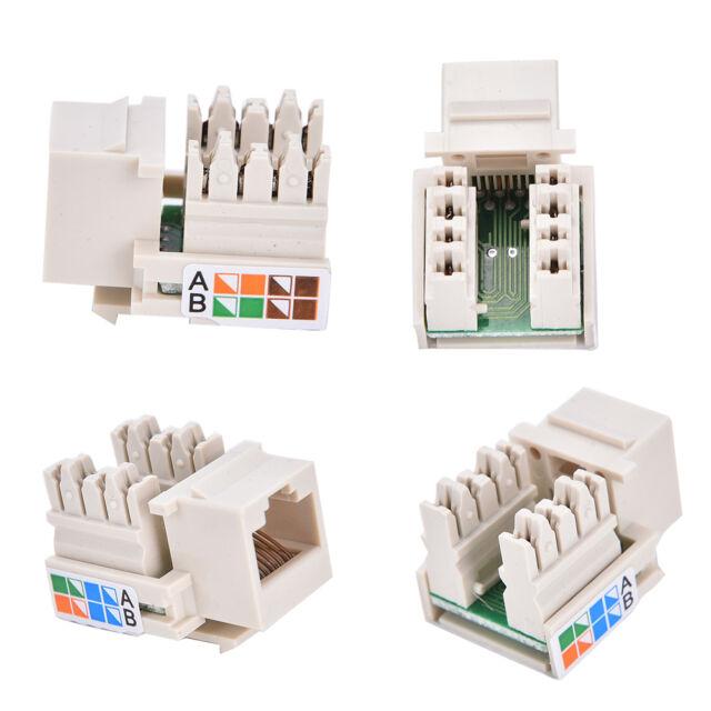 RJ45 Punch Down Keystone Jack CAT5 Network Ethernet RJ45 White Lot ATAU