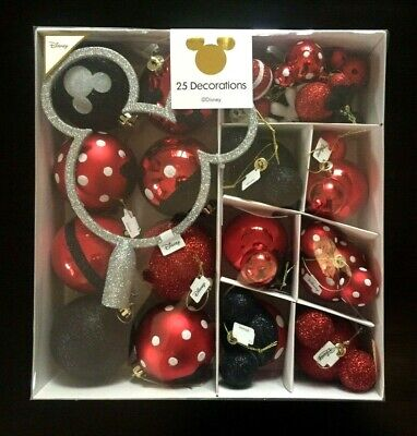 6x Disney Mickey Minnie Mouse Dekorations Kugel Weihnachtskugel Anhänger Rot