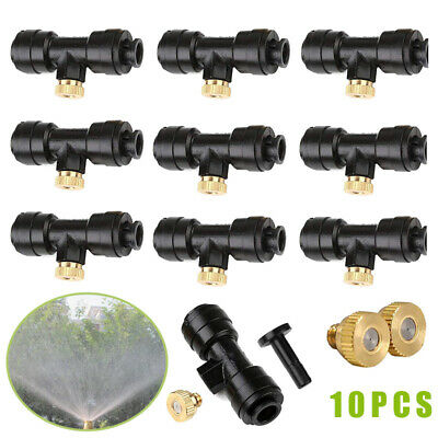 """--- BULK PACK 10 10x Misting Atomizing Sprinkler Nozzles with built in /""""T/"""" T"""