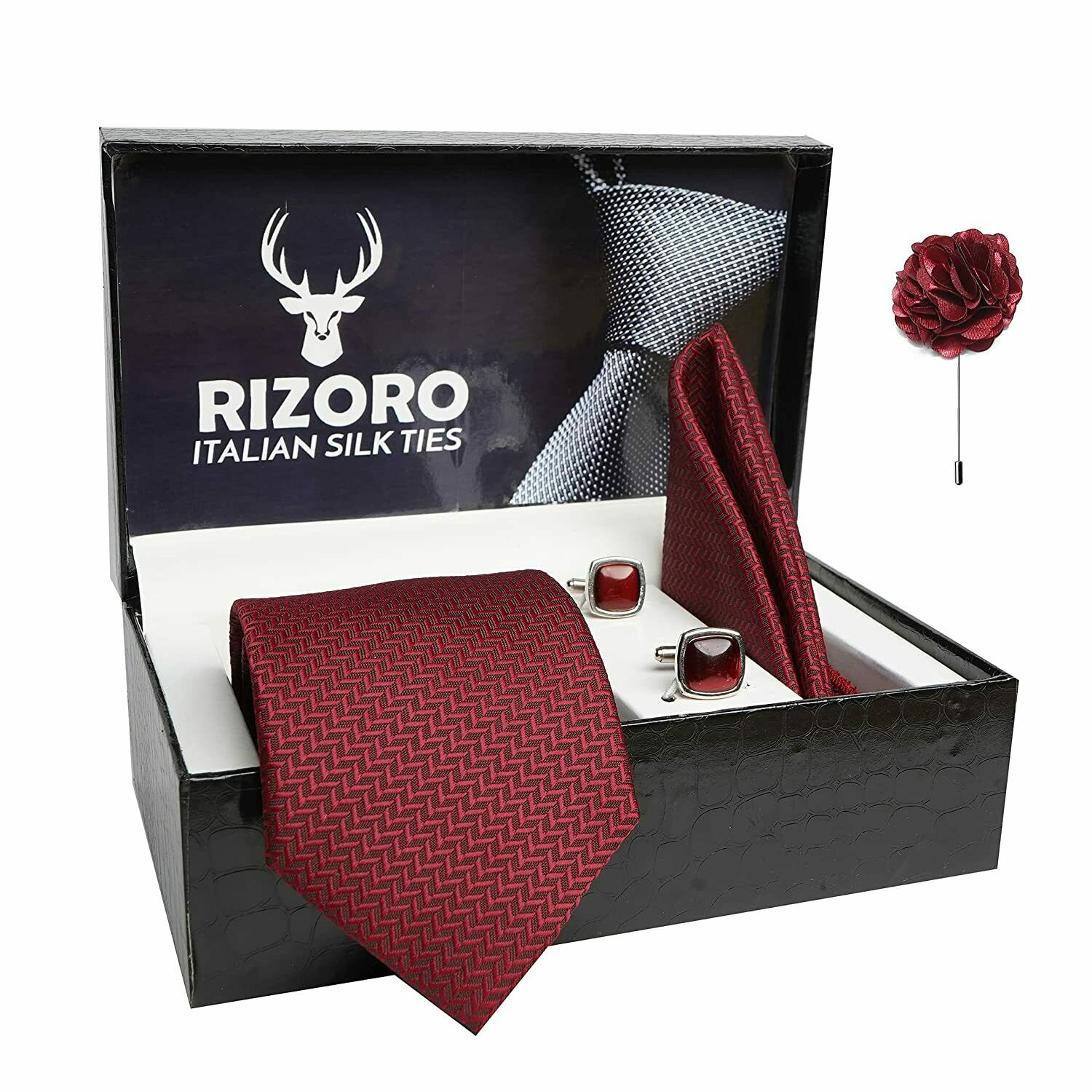 Rizoro Mens Maroon Tie & Brooch Pin with Cufflink Gift Set and PO Leatherite Box