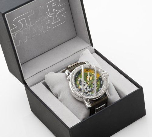 Authentic Boxed Star Wars Boba Fett Gents Mens Collectors Watch w/ Leather Strap