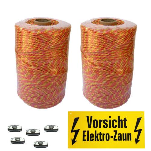 2000 m Weidezaunlitze+Warnschild+5 Verbinder,orange-gelb,3x0.20 Niroleiter,neu