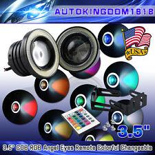 2x Multi-Color RGB 3''Inch Projector LED Fog Light w/ COB Halo Angel Eyes Rings