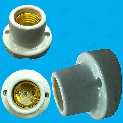 2x Edison Screw Angled Glazed Ceramic Bulb Holder E27 Porcelain Heat Lamp Socket