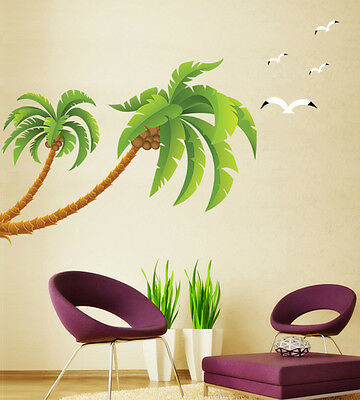 Tropical Coconut Palm Tree Ocean Beach Wall Decal Sticker Art seagulls Stickers