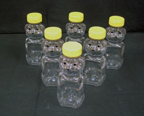 8 or 12 oz Clear PET Plastic Honey Bear Shape Bottles w//Caps