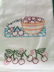 BOWL OF CHERRIES - NEW Hand embroidered 30 X 30 flour sack dish towel
