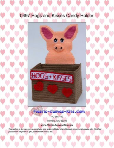 Plastic Canvas Pattern or Kit Hogs and Kisses Valentine/'s Day Candy Holder-Pig