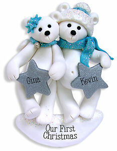 image is loading polar bear family couples polymer clay personalized christmas - Couples First Christmas Ornament