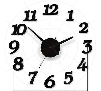 Modern DIY Large Wall Clock New 3D Digit Number Sticker Home Room Office Decor