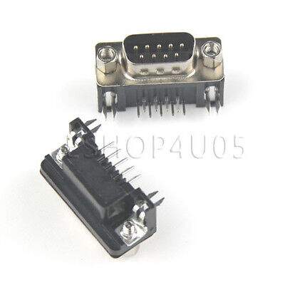 2 pcs 9 pin D-Sub DB9 Male right angle PCB Connector Solder Type Connectors