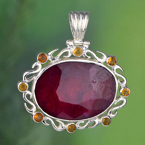 925-Sterling-Silver-Huge-Ruby-amp-Citrine-gemstone-Pendant-jewelry-15-04g