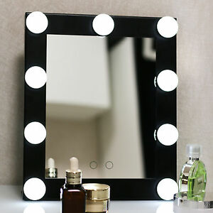 Vanity Lights With Dimmer : New Black Vanity Lighted Hollywood Makeup Mirror with Dimmer Stage Beauty Mirror eBay