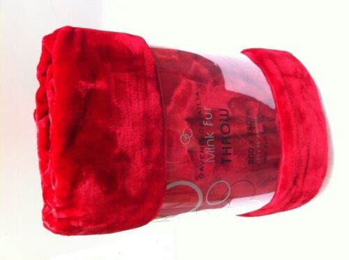 200x240cm XL Red // Chili Red Soft Faux Fur Mink Throw Sofa Bed Blanket