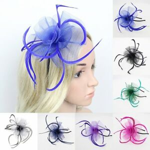Women Pillbox Hat Xmas Fascinator Feather Hair Clip Cocktail Party ... 098ccd5c046