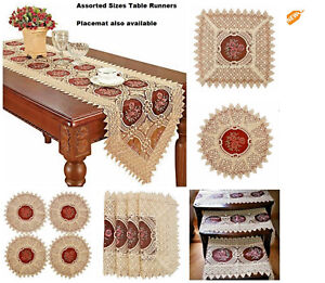 Table-Runner-Vintage-Lace-Tablecloth-Decor-Placemats-Embroidered-Burgundy-Gold