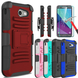 For-Samsung-Galaxy-J3-Emerge-Prime-Luna-Pro-Case-Kickstand-Clip-Screen-Protector