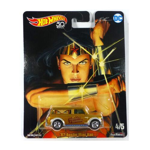 """Hot Wheels dlb45-fky29 austin mini van /""""Wonder Woman/"""" Gold-Alex Ross 1:64 nuevo °"""