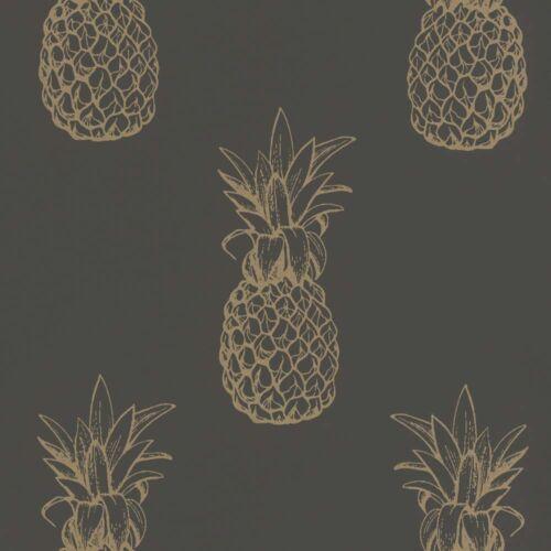 Papier Peint Ananas Floral Or Noir Métallique Rasch Textil 289694 7,82 £//1qm