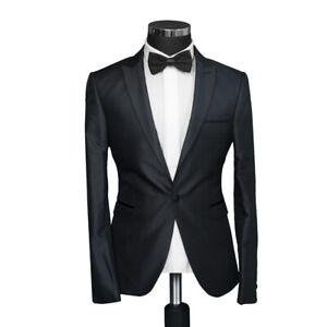 Herren Sakko mit Paspel in Schwarz Slim Fit Anzug-Hochzeit-Smoking-Bühne-Party