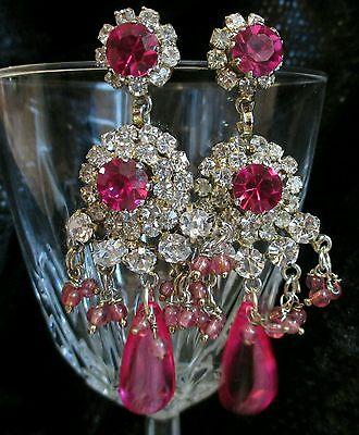 Vintage Chandelier Earrings pink Pierced dangle Crystal Chunky long pageant Nice