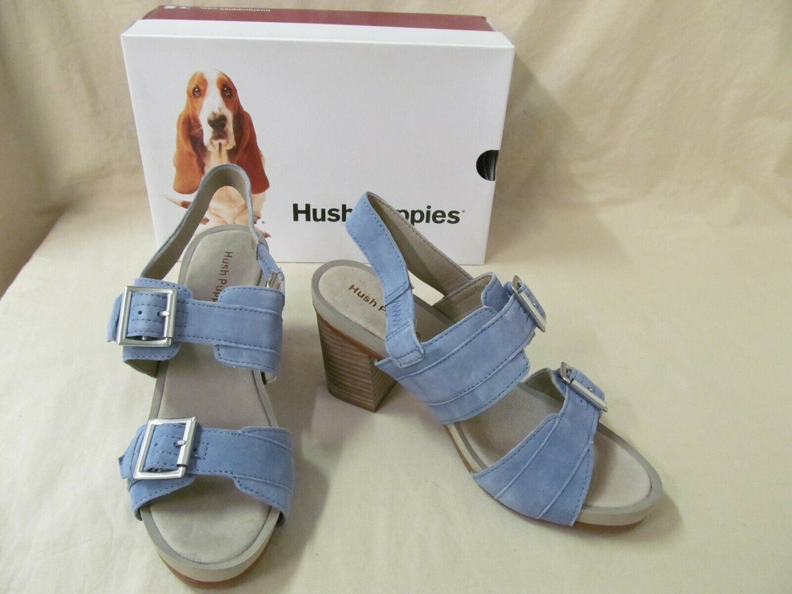 Hush Puppies Women's 8 M Leonie Mariska Powder bluee Suede Strappy Sandals