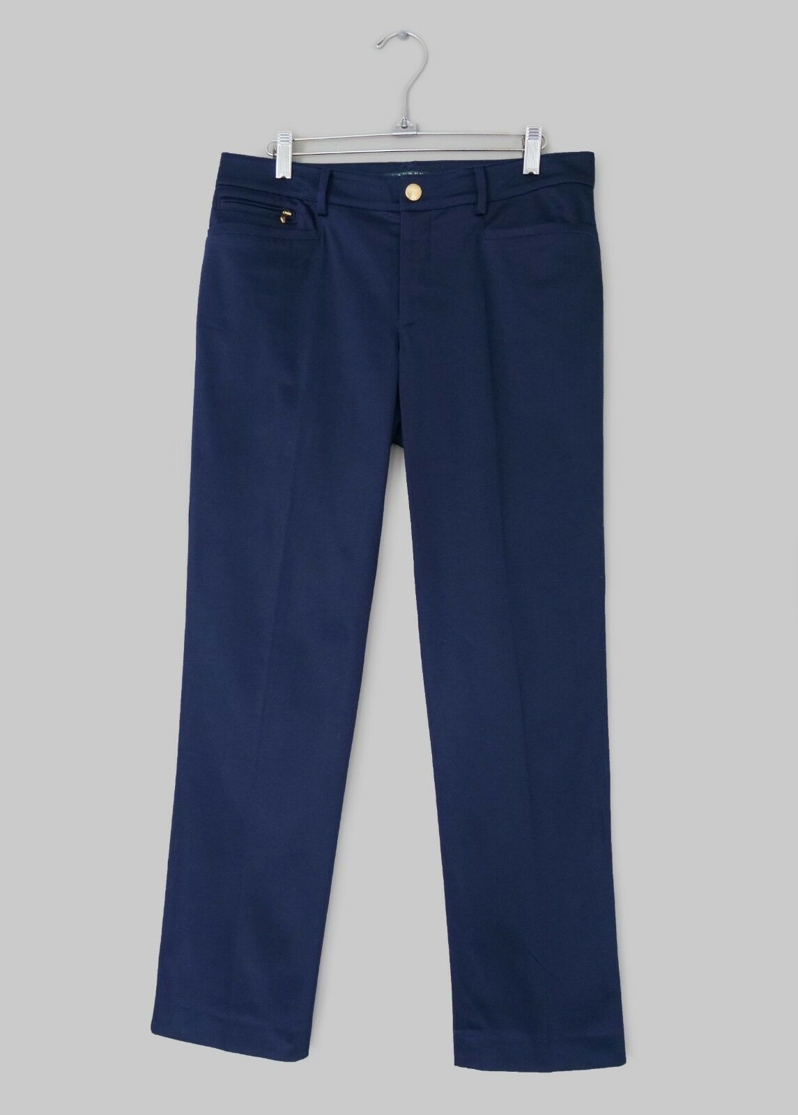 RALPH LAUREN WOMENS NAVY STRAIGHT FIT ANKLE LENGTH COTTON TROUSERS -US 6