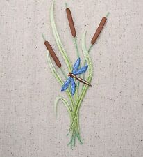 Iron On Embroidered Applique Patch - LARGE Cattails Wetland Plants Dragonfly